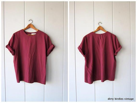 90s BOXY Top Short Sleeve Minimal Blouse Purple Plum 80s Shirt Loose Fit Drape Tee Vintage Simple Cut Basic Rayon Tee Shirt Womens Large
