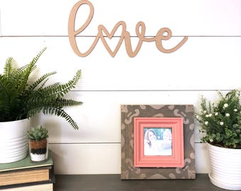 Love Wood Cutout Valentine's Day Home Decor, Red Love Wood Word, Scroll Cutout Word