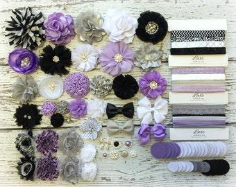 DIY Headband Making Kit - Baby Shower Headband Station - MAKES 25+ HEADBANDS!! Lavender, Black, White - Modern - Urban - HK600