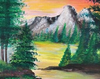 "Canvas acrylic painting-- ""Placid"""
