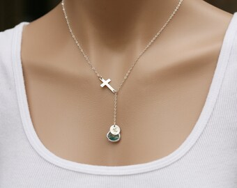 Sideways cross necklace,custom initial necklace,custom font monogram,custom birthstone,lariat Y necklace,Godmother gift,Mother's day jewelry