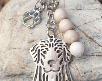 Golden Retriever gemstone key chain/ bag charm
