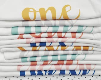 MONTH BY MONTH - Printed Onesies for Baby's First Year