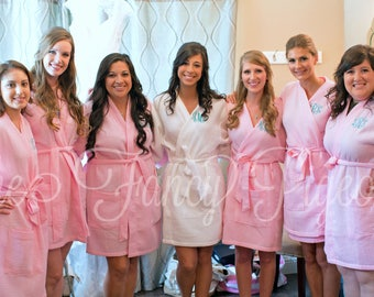 BLUSH WAFFLE ROBES - Cotton Waffle Robe - Monogrammed Robes - Embroidered Robes - Bridal Party Gifts - Bridesmaid Robe Set - Spa Party
