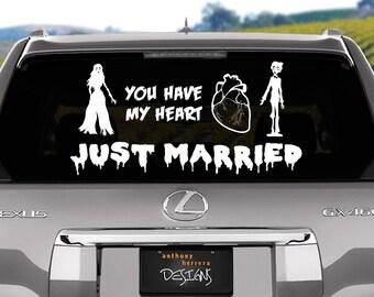 Zombie Love Just Married Wedding Vinyl Window Cling Decal