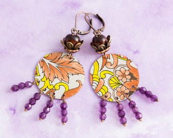 Bohemian Earrings with Peach and Yellow Vintage Tin and Purple and Wooden Beads, Antique Copper, Leverback Earrings