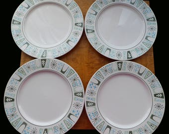 4 Taylor Smith & Taylor Taylorstone Cathay Star Starburst Deco Aqua Teal Turquoise Blue Green Mid Century Modern Dinner Plates