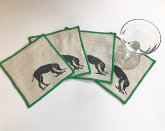 Ships free in US! Dog Print Cocktail Napkin Set of Four-Handmade in Seattle- 100% cotton cloth coaster, Hostess Gift
