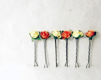 Rose Bobby Pin Set, Orange and Yellow, Floral Hair Pins, Flower Hair Accessories, Paper Hair Flowers, Bridesmaid Gifts, Summer Wedding Hair