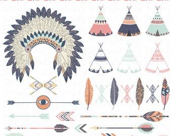 Clip tribal art pack ensemble, coiffe de plumes, tipi, les tentes, tribal, plumes, flèches, aztèque, frontières, clipart indien, mariage. Tribal006