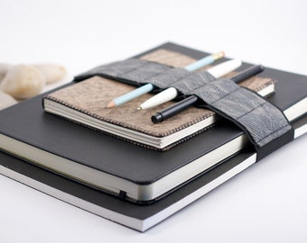 Large Journal Bandolier // grey wave // (a better pencil case, journal pen holder, book strap, pen loop, pencil roll, pen bandolier)