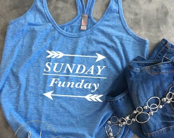Womens Funny Saying Shirt/Sunday Funday/Funny Wine Saying/Womens Wine Shirt/Summer Shirt/ Beach Tank/ T~Back Racer Tank Top