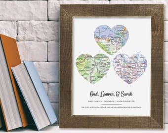 Personalized Dad Gifts for Dad from Daughter Gift from Dad Christmas Gift for Father Daughter Gift Dad Christmas for Dad Long Distance Map