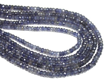 Blue Iolite Water Sapphire Faceted Rondelle Loose Gemstone Beads Strand 4mm 13 Inches - Jewelry Supplies