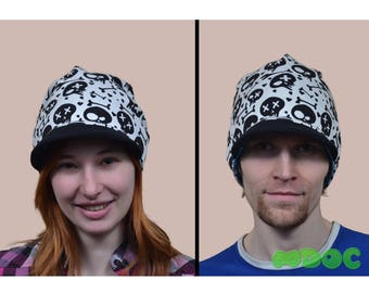 Skull Blue Moro Cute Kawaii Cotton Visor Beanie Hat double-sided Adult Teen Kid Men Women