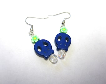 Sugar Skull Earrings Day Of The Dead Jewelry Blue Skulls And Flowers