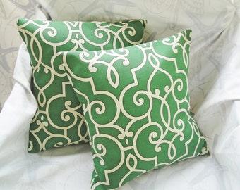"""Outdoor pillow Jade green covers, trellis pillow green, outdoor living decor, green sunroom decor, deck chair pillow, 16"""" insert additional"""