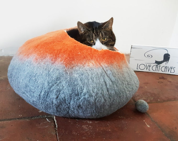 Cat Bed Cave Cocoon House Felted Wool and ball in gray and orange