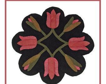 PDF pattern for a 16 inch wool table mat - penny rug: Spring Tulips