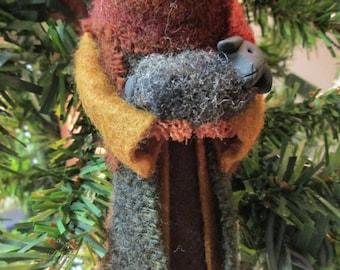 Shepherd Christmas Ornament - Nativity, Clothespin Ornament, Wool Felt, Ornament Exchange, Secret Santa Gift, Creche