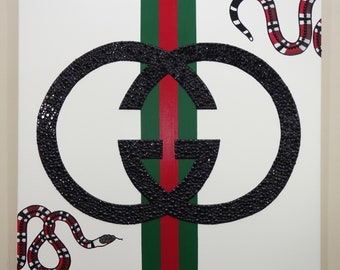Gucci Snake Painting (24x24) Gucci Inspired, Designer Art, Fashion Art, Home Decor Art