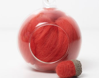Merino Felting Wool- Wool Roving-Wool Tops -Colour Red 04 -10grams