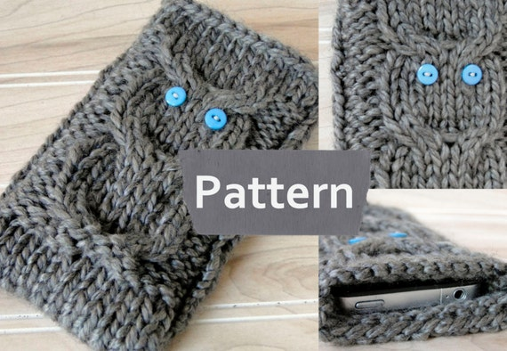 Pdf Pattern Instant Download Knit Iphone 5 Owl Cozyknit