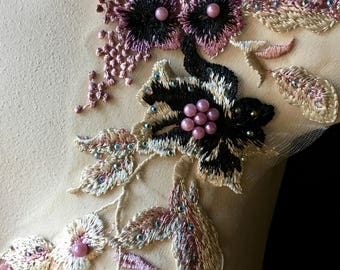 Purple, Pink & Black  Lace Applique #4, Beaded for Couture Gowns, Lyrical or Ballet Costume Design