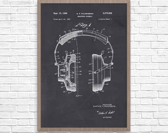 Headphones Patent Print, Headphone Patent, Headphone Poster, Home Theater Decor, Patent Print, Music Art, Wall Decor, Wall Art, Home Decor