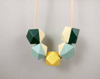 Statement Necklace | Geometric Necklace Dark Green, Sage & Gold | Gift for her | Geometric Jewellery | Beaded necklace | Minimalist necklace
