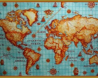 A World Map on Cotton Fabric - By the Fat Quarter, Half Yard or Yard