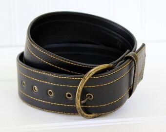 """Mod Vintage Belt  - 1960s - 1970s Wide Belt with Large Metal Buckle - Black -31"""""""