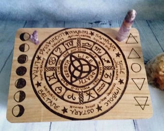 Small wiccan altar table - portable altar table - space saving altar - witches altar - tarot table - mini altar - pagan altar - moon phase