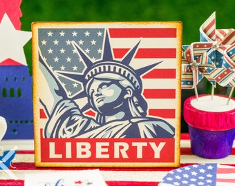 Made to Order Miniature Lady Liberty 4th of July Sign - 1:12 Dollhouse Miniature
