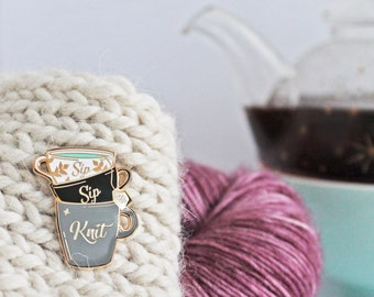 Sip Sip Knit - Gold Plated Hard Enamel Pin Knitters Flair