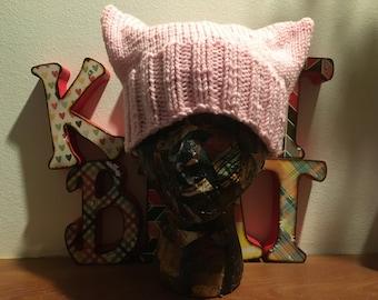 Chat oreilles, chapeau de chatte rose, tricoté à la main marche des femmes, journée de la femme, mars sur chapeau de chat, pussyhat projet, chat dans le chapeau, amime, cosplay
