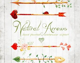 Watercolour Clipart  Arrows Natural Hand Drawn, DIY elements, hearts, flowers, invite, tribal arrows, transparent, digital png