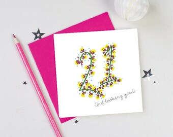 21st birthday-birthday card-flowers-floral-21st card-21st birthdays-pink-gift for her-21st girl-twenty first-happy birthday-birthday cards