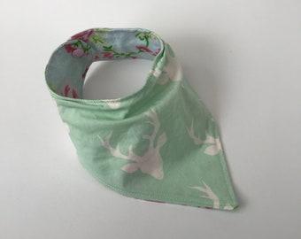 Mint Bucks, Deer, Roses, Baby Bandana Bib, Drool Bib, Baby Accessories, Baby Shower, Baby Gift, Drooling Baby, Teething Baby