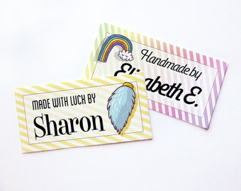 """Lucky Charms! Custom Fabric Labels  • Sew-on or Iron-on • 80 Labels  2 x 1"""" Uncut • Your Name Added • Colorfast 100% Preshrunk Cotton"""