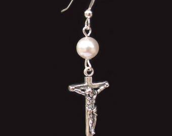 Swarovski Pearl Crucifix Cross Earrings Sterling Silver