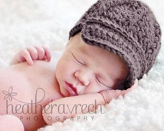 Newsboy Style Beanie Hat with Visor Brim