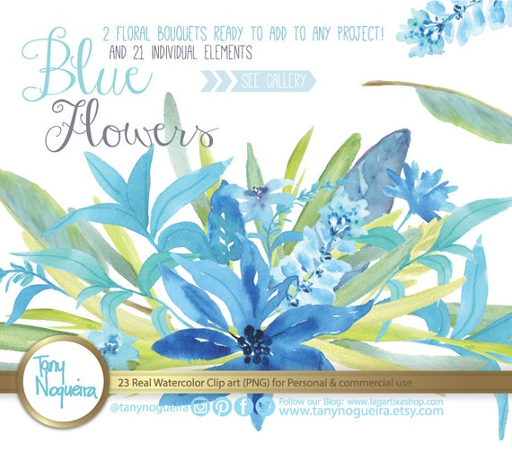 Blue Flowers Watercolor Floral Wedding Elements Clipart PNG Frames Spring Rustic Arrangement Posies Bouquet For Invitations From TanyNogueira On