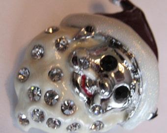 Vintage Estate Charming Christmas Holiday Santa Rhinestone Brooch pin