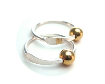 Silver and Gold Sleeper Hoops, Ear Hugger, Mini Hoops with Yellow Gold Bead Cartilage