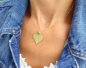 Gold leaf necklace, Bridesmaid gifts, autumn fall wedding, friendship necklaces, aspen leaf, silver dipped leaf, genuine leaf necklace
