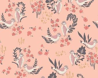 Feathered Fellow Blush - Hello Ollie - Art Gallery Fabrics - Organic Cotton - Poplin by the Yard
