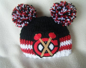 Crocheted Baby Girl Blackhawks Inspired or (Choose your team) Baby Beanie/Hat - Made to Order - Handmade by Me