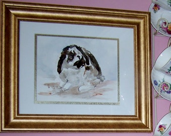 Spotted Bunny Original Watercolor Painting, Wall Art, Wall Hanging