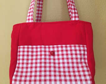 Florence#1823, Red and White Gingham Checked Tote, Small Project Bag, Knitting Project Bag, Knitting Bag, Crochet Tote, Yarn Bag, Yarn Totes